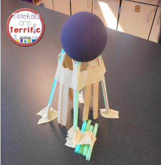 STEM Challenge: One of our favorite towers to build! The tower must use all the materials and hold a ball aloft!