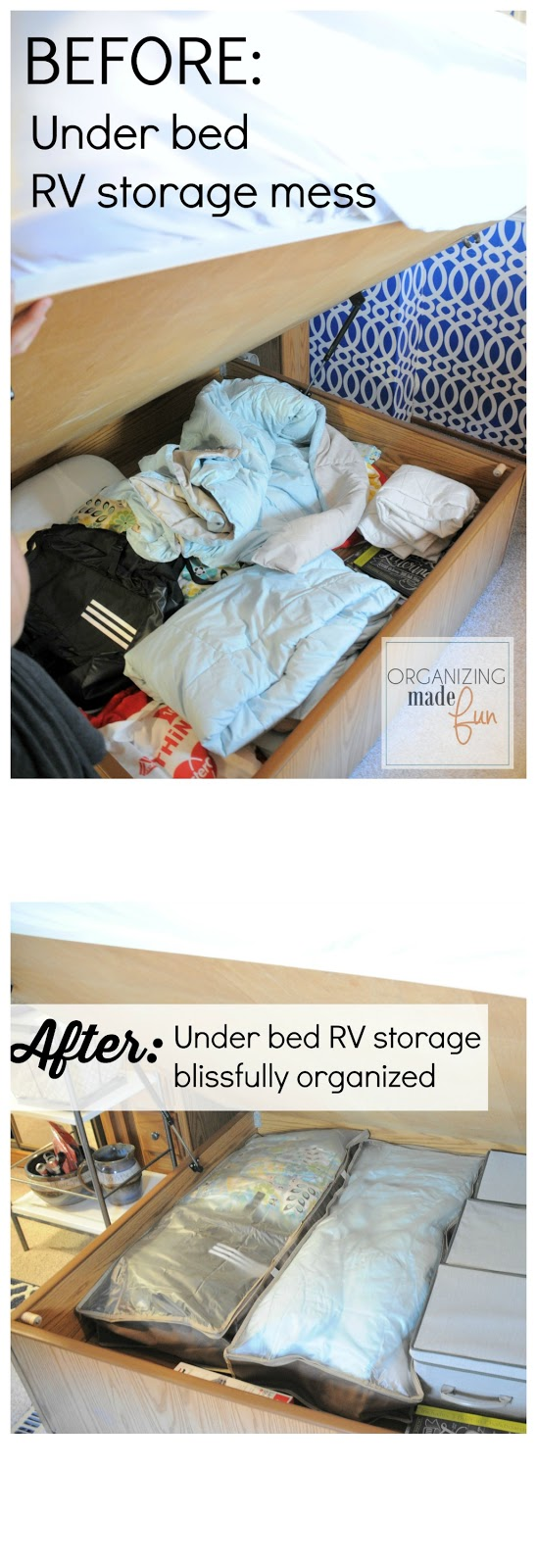 AFTER: Under bed RV storage blissfully organized
