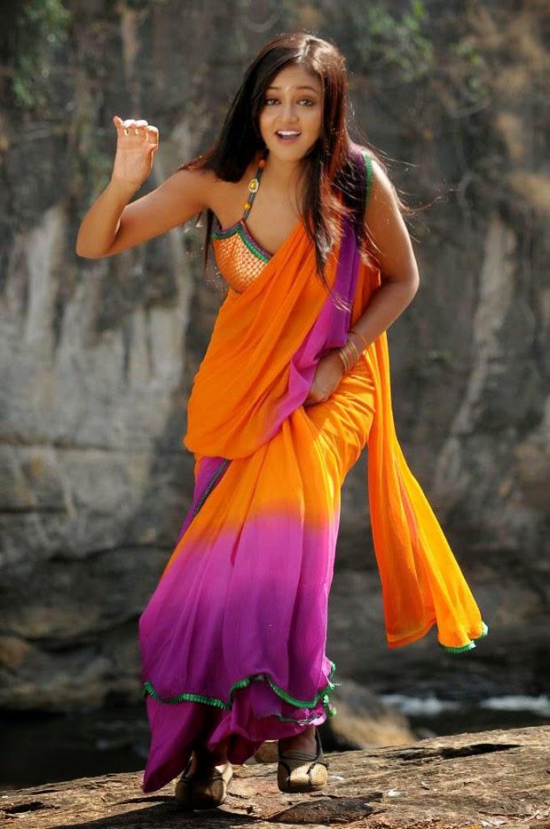 Shanvi Srivastava Hip Navel Photos In Orange Saree