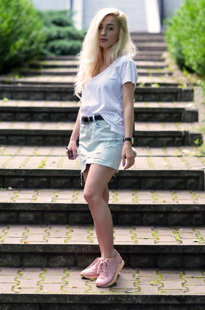 CASUAL: jeansowa spódnica + buty Asics Gel Lyte III