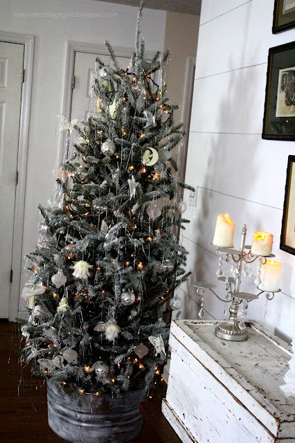 Christmas, Flocked Tree, Farmhouse, Cottage, Decorating, Trunks, Tinsel, Galvanized Tree Collar