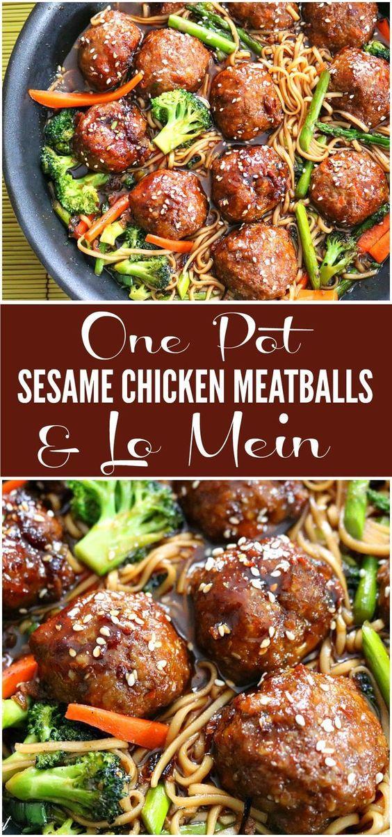 One Pot Sesame Chicken Meatballs & Lo Mein