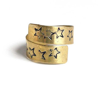 Star Ring, Brass Open Wrap Adjustable Size 8 Ring