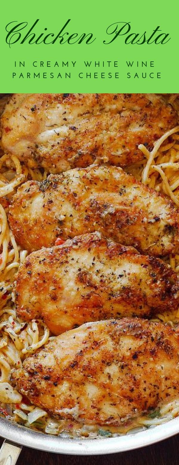 Chicken Pasta in Creamy White Wine Parmesan Cheese Sauce#CHICKEN #PASTA #CREAMY #PARMESAN #CHEESE