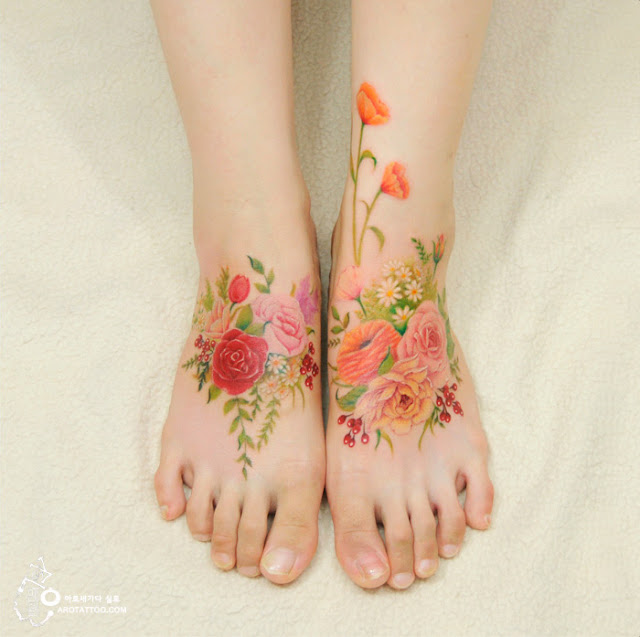 watercolor flower body tattoos
