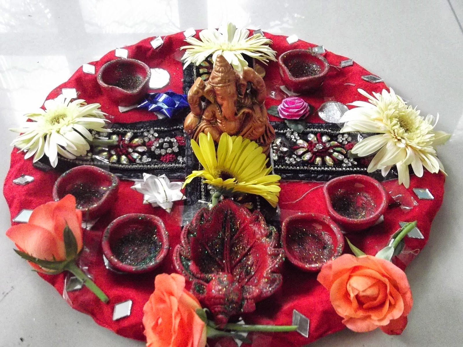 Dews the school panchkula pooja thali decoration for Aarti thali decoration with flowers