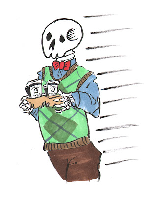A skeleton in a sweater vest carrying a cardboard drinks container full of coffees