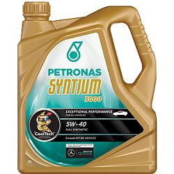 Gambar minyak hitam Petronas Syntium 3000 sintetik penuh (fully synthetic)