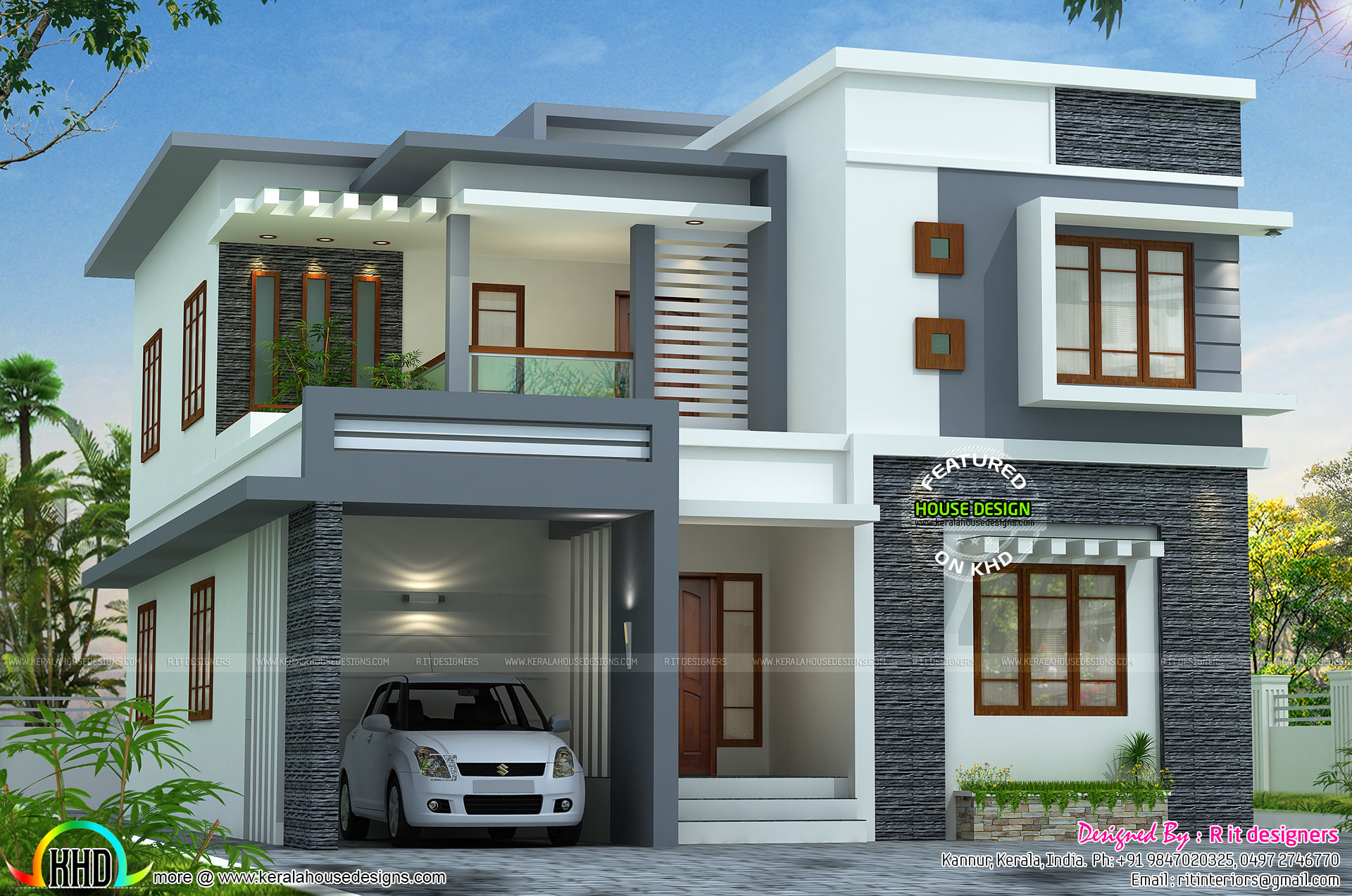2767 sq ft flat roof style home kerala home design and House plans india with two bedrooms