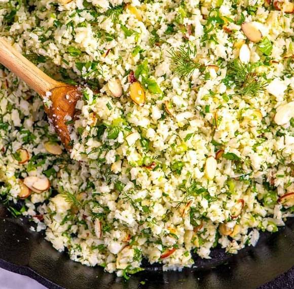 Garlic Herb Cauliflower Rice #vegetarian #healthy