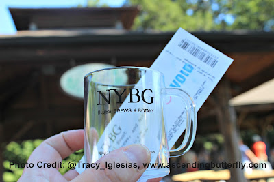 Mini Mug and Ticket at Blues, Brews and Botany New York Botanical Garden NYBG Fall 2017, beer, craft beer, beer tasting, beer tasting events new york city