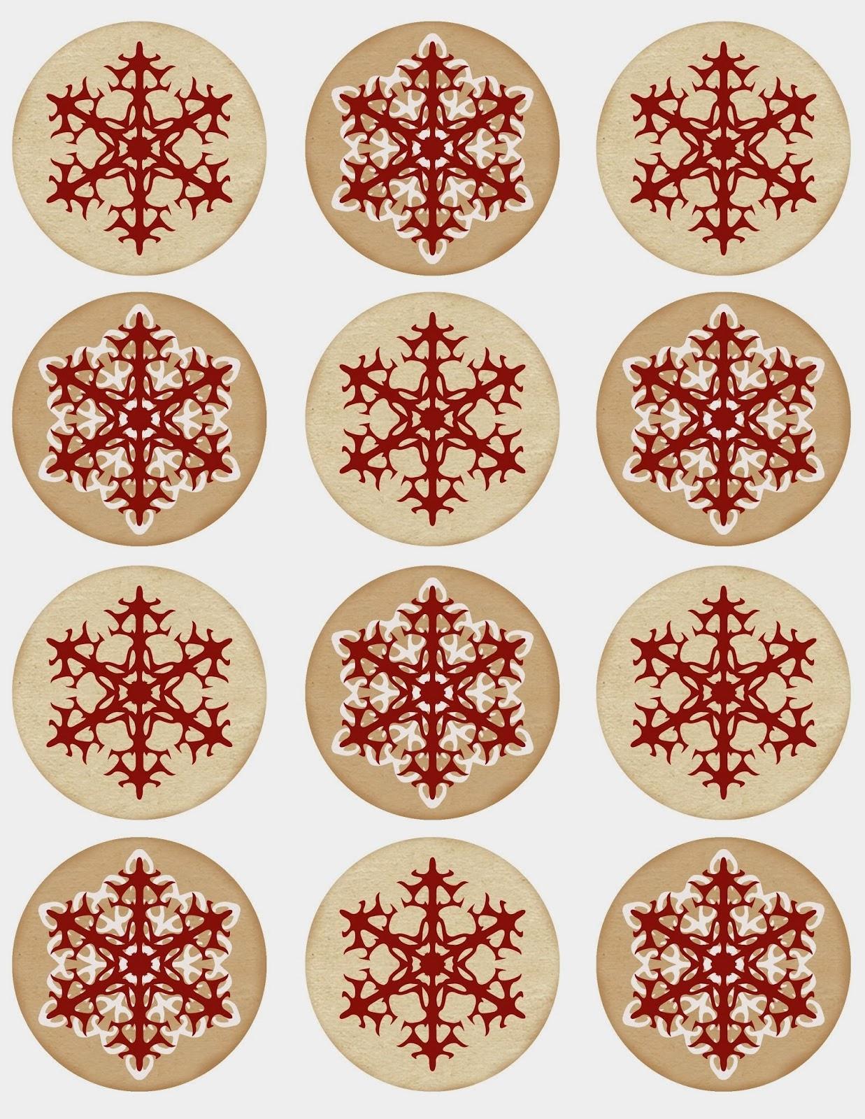 Cajas Navideñas Etiquetas Y Toppers Diseños Con Copos De Nieve