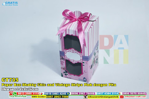 Paper Box Shabby Chic And Vintage Stripe Pink Dengan Pita