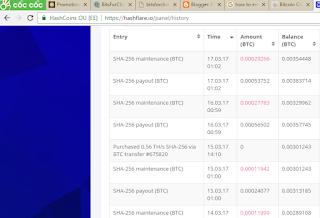 Bằng chứng nhận tiền từ HashFlare