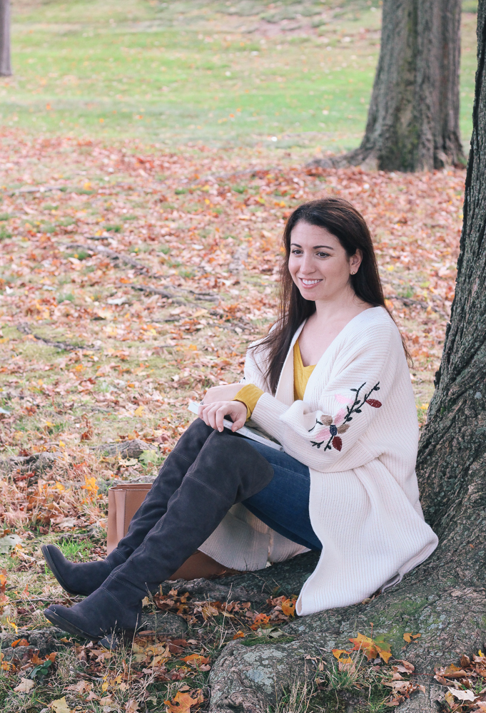 Boston Life and Style Blogger, The Northern Magnolia, is featuring her favorite floral embroidered knit cardigan.