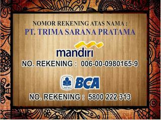 Nomor Rekening PT. Trima Sarana Pratama
