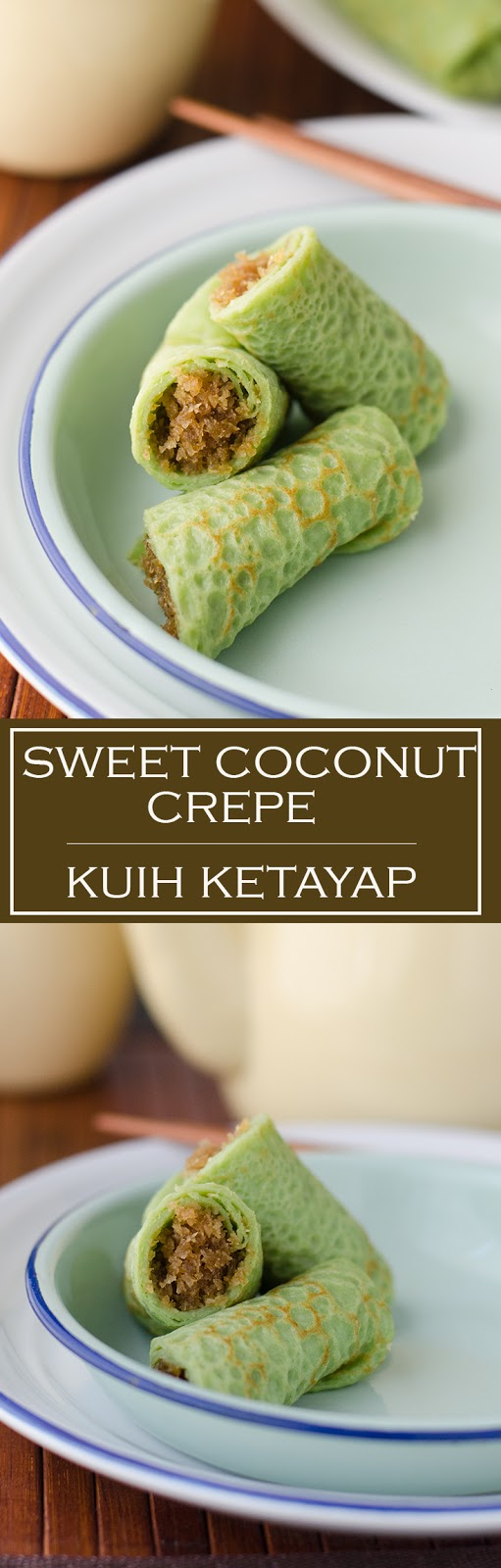 Malaysian Pandan sweet coconut crepe photo