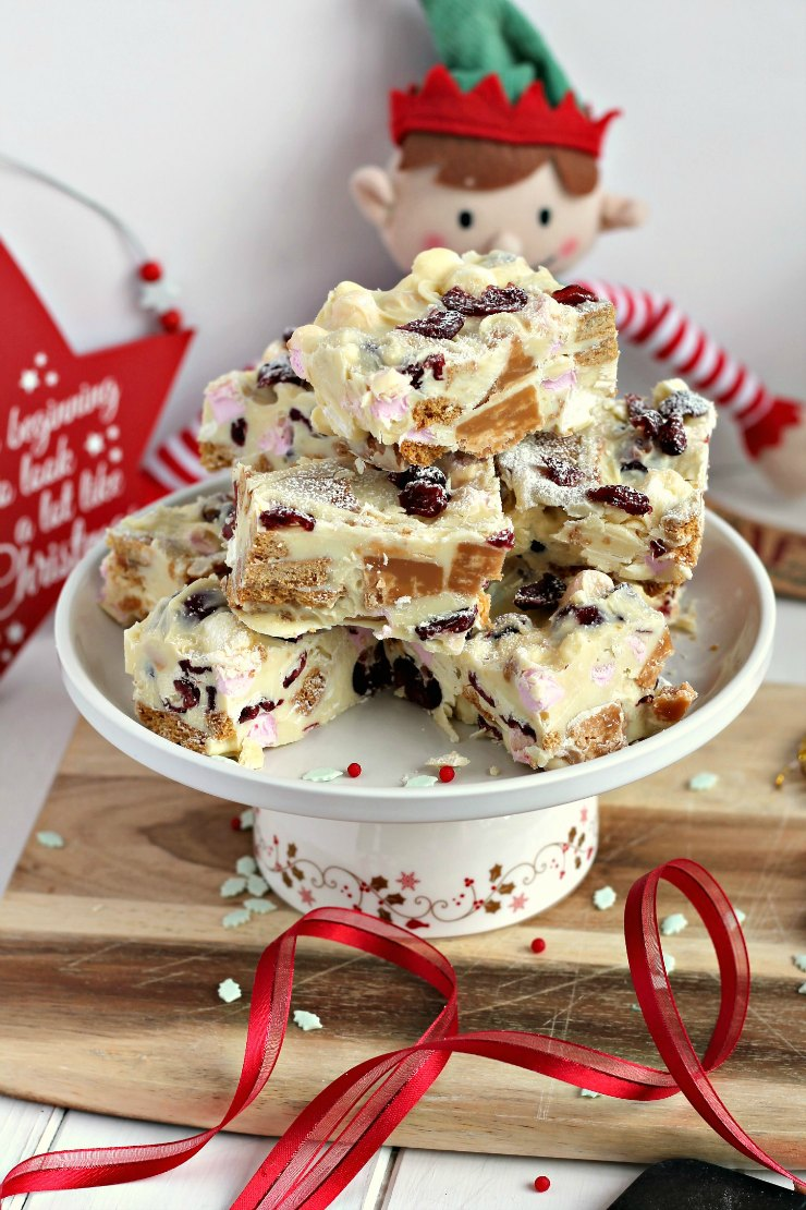White Chocolate, Fudge and Cranberry Tiffin