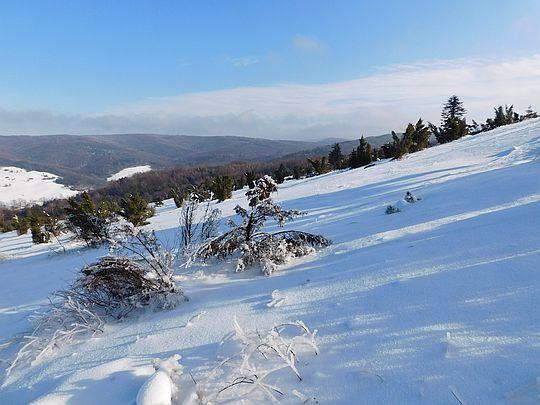 Góry pokryte są deseniem zimy.