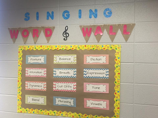 "Choral Singing Word Wall - Help your young choirs focus on concepts like posture, tone, balance and more.  - bulletin board for the elementary music room - Music Room Decor - Back to School in the Music Room (Blog Hop) - Kodaly Inspired Classroom - find out my ""must have"" decor items for the music room."