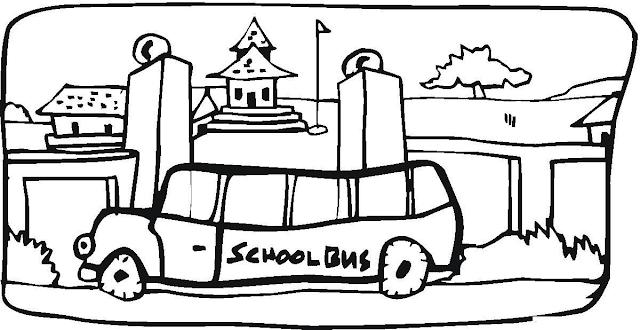 Gambar Mewarnai Bus Sekolah - 7
