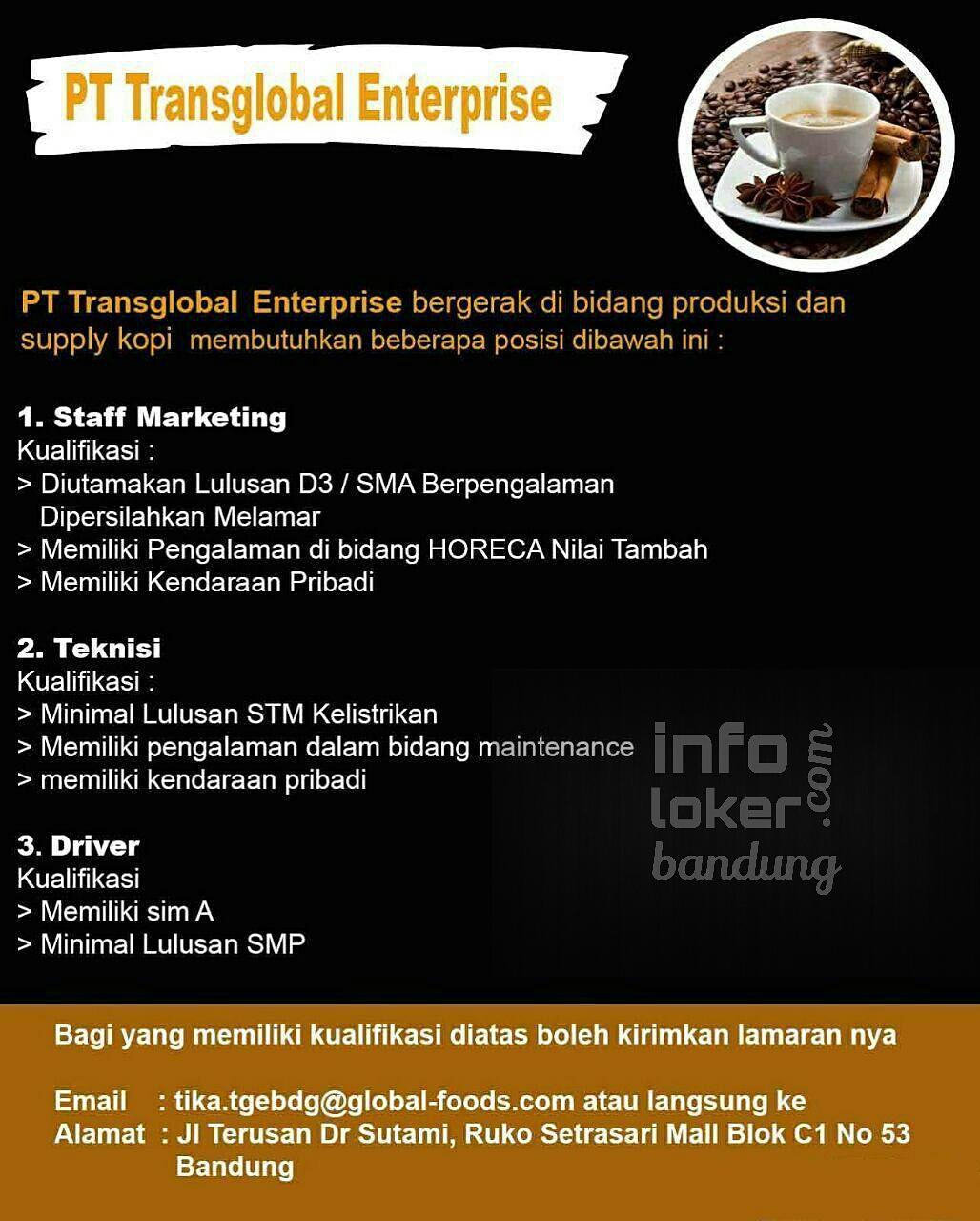 Lowongan Kerja PT Transglobal Enterprise Bandung Februari 2017