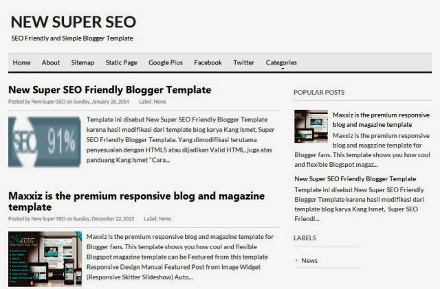 New Super SEO Friendly Blogger Template
