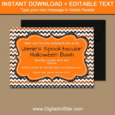 halloween invitation template or printable sign