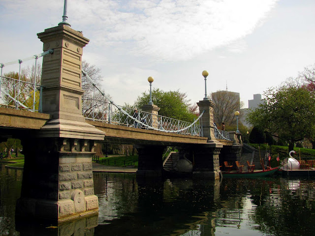 Swan-Boats-and-the-Pedestrian Bridge-at-Boston's Public-Garden