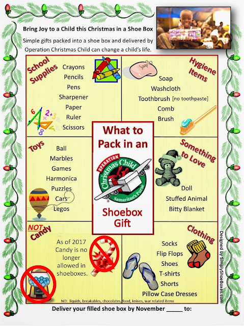 Free Poster to print or share.  What to pack in an Operation Christmas Child shoebox 2017.