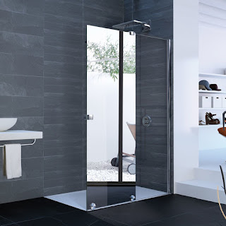 A Shower With One Mirrored Door