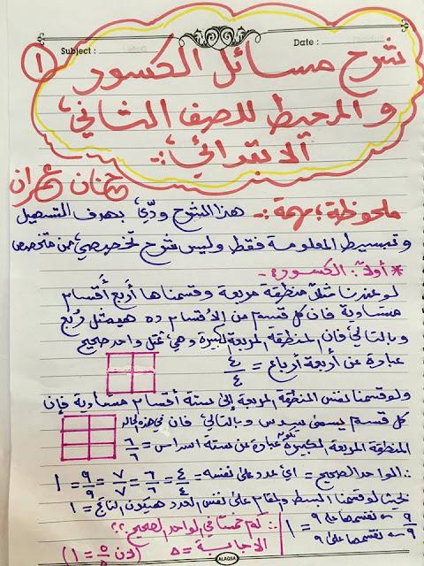 شرح درس الكسور للدكتورة حنان عمران - الصف الثاني الابتدائي