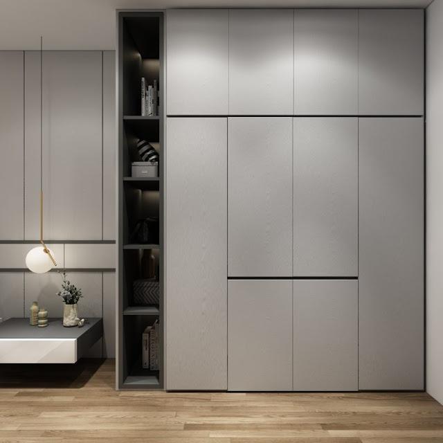 Thiết kế chung căn hộ Sơn Trà Ocean View 2 phòng ngủ - Kệ tủ