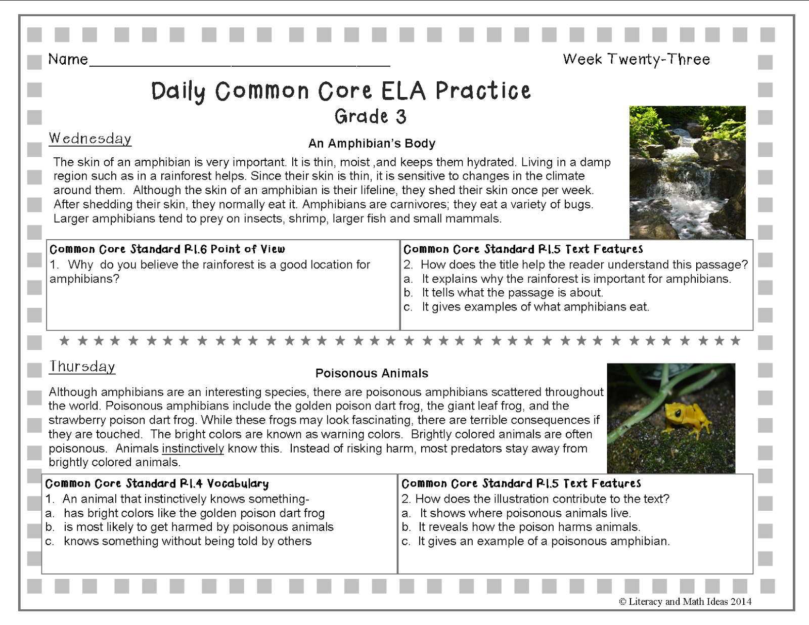 Literacy Amp Math Ideas Grade 3 A Full Year Of Daily Common Core Reading Practice