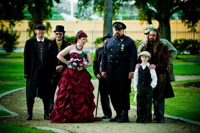 steampunk wedding, steampunk bride and groom, louise black corset, galveston, wedding, kempner park, steampunk groomsmen, gentlemen's emporium