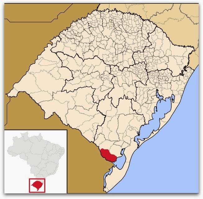 Cidade de Jaguarão, no mapa do Rio Grande do Sul