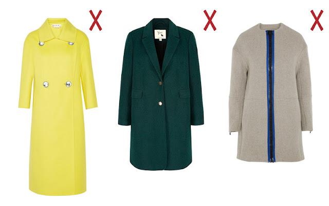 Желтое прямое пальто, широкое зеленое пальто бойфренда и серое пальто-кокон