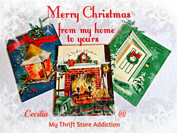 Merry Christmas  Thrifted vintage cards mythriftstoreaddiction.blogspot.com
