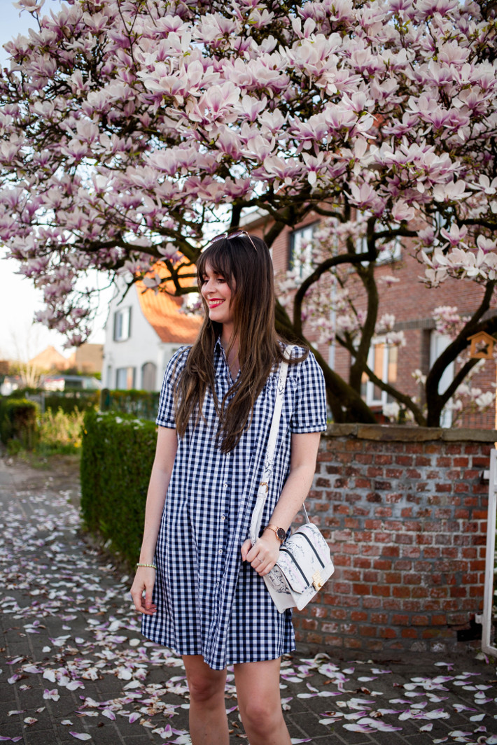 Outfit: gingham shirtdress