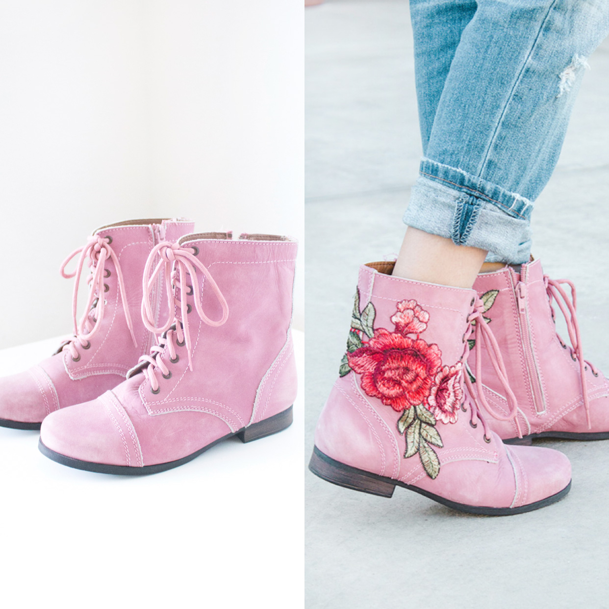 floral embroidered patch combat boots before and after image