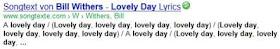 """Ausschnitt aus einem Google-Suchergebnis, bei dem es um eine Songtextplattform geht und zum Song von Bill Withers als Inhaltsbeschreibung 3 Zeilen lang nur """"lovely day"""" steht."""