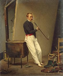 Self Portrait with Pipe by Emile Jean-Horace Vernet