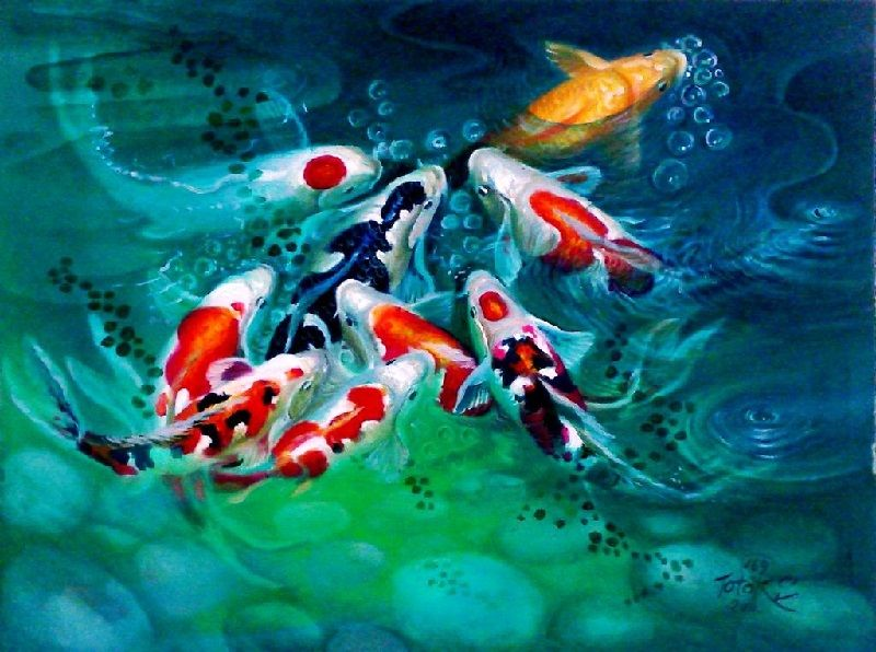 letak lukisan ikan koi menurut feng shui