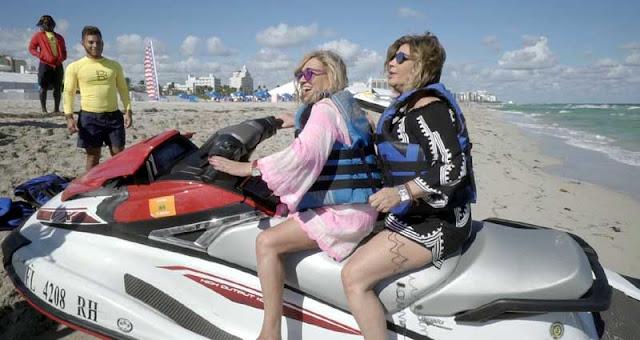 Terelu Campos tratara de montar en moto acuatica en Miami
