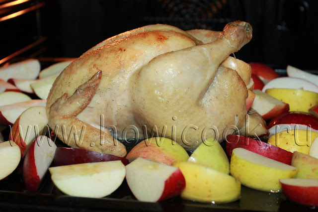 рецепт курицы, запеченной с яблоками с пошаговыми фото