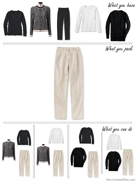 adding khakis to a black, white and beige travel capsule wardrobe