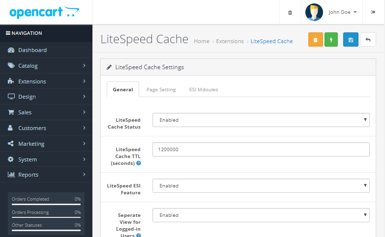 Download LiteSpeed Cache cho OpenCart 2.3 và 3.0