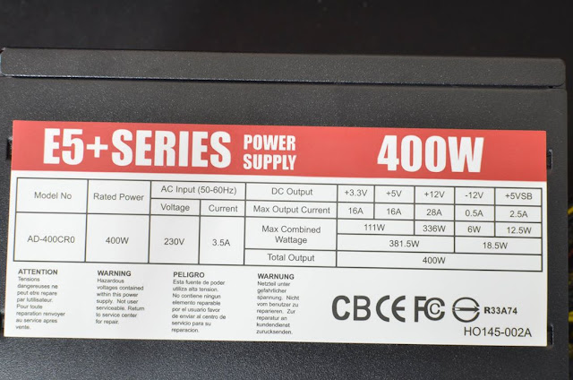 Andyson E5+ 300W -Passive PFC Single Rail True Power 9