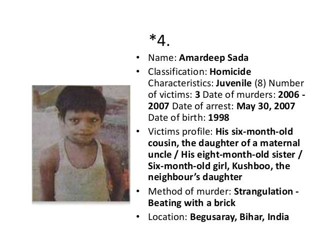 Worlds youngest serial killer india