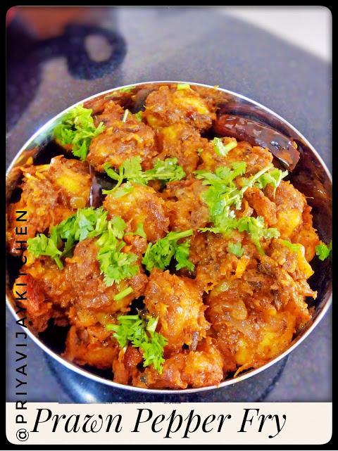 Priyavijaykitchen Prawn Pepper Fry Prawn Recipes Iral Milagu